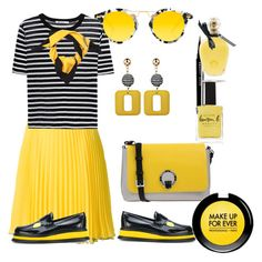 """""""Bee time"""" by valeria-coroianu on Polyvore featuring Boutique Moschino, T By Alexander Wang, Pollini, Joshua's, Krewe, Gucci, MAKE UP FOR EVER, EB Florals and Lauren B. Beauty"""