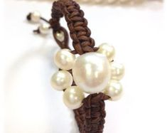 Freshwater Pearl and Leather Bracelet NaRiSa by AdiDesigns