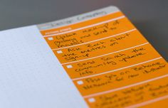 The Action Journal was designed by the Behance team and is based on the Action Method. The distinct zones on each page provide a flexible template to get the most out of everyday meetings and brainstorms, with a focus on action steps. (see usage guidelines below).