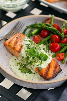 Grilled Salmon with Creamy Pesto Sauce - Cooking Classy (Keto Salmon Recipes) Grilling Recipes, Fish Recipes, Seafood Recipes, Cooking Recipes, Healthy Recipes, Tilapia Recipes, Grilled Salmon Recipes, Pesto Salmon Baked, Grilled Salmon Dinner