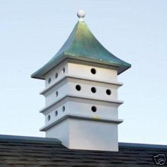Estate Architectural Martin Cupola adds curb appeal with elegant style. Definitely for the birds with stunning cupola will not crack, rot, spli Martin Bird House, Purple Martin House, Roof Design, Exterior Design, Purple Martin Birdhouse, Copper Roof, Shed Plans, Minimalist Home, Bird Houses