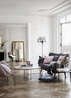 grey sofa, marble table, romantic details | H&M Home | via My Scandinavian Home