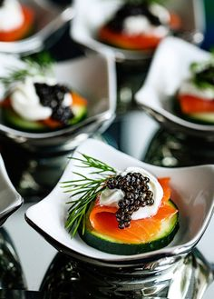 Elegant Salmon and caviar appetizer on cucumber slices with dill sauce• SOiIRÉES n'нσℓι∂αуѕ ™