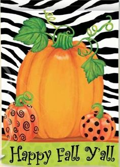 Happy Fall Y'All - Pumpkin Polka Dot Zebra Stripes Standard Size Decorative Flag Flag 28 x 40 Inches by Custom Decor, http://www.amazon.com/dp/B008OZBHDW/ref=cm_sw_r_pi_dp_HWl4rb1T3WKWJ