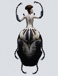 Insectes by Laurent Seroussi, photo composites of woman-insect creatures