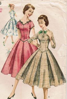 1950s Simplicity 1323 Vintage Sewing Pattern Teen's Dress
