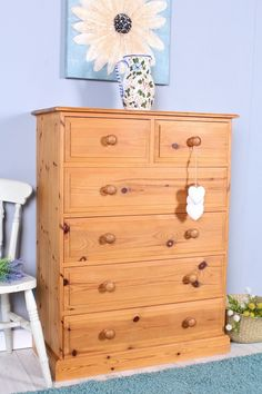LARGE 6 DRAWER CHEST OF DRAWERS