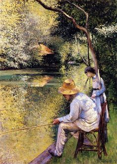 Gustave Caillebotte Fishing painting, oil on canvas & frame; Gustave Caillebotte Fishing is shipped worldwide, 60 days money back guarantee. Renoir, French Art, Beautiful Paintings, Oeuvre D'art, Monet, Figurative Art, Great Artists, Art Forms, Painting & Drawing