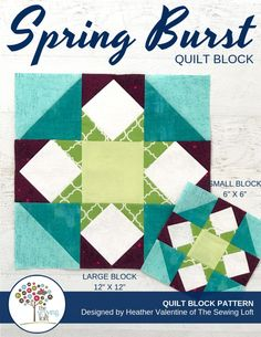 The Spring Burst Quilt Block is perfect for the confident beginner! It comes in 2 sizes, features HST's and flying geese. Perfect for your next project. The Sewing Loft Quilt Block Patterns, Pattern Blocks, Quilt Blocks, Sewing Hacks, Sewing Tutorials, Sewing Projects, Flying Geese, Sewing Patterns Free, Free Sewing