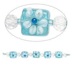 Bead, lampworked glass, turquoise blue / clear / white, faceted round and double-sided flat square with raised flower. Blue Beads, Shape Patterns, Flower Designs, Small Tattoos, Glass Beads, Artisan, Shapes, Varanasi, Flowers