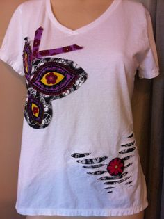 Distressed Butterfly Tshirt - Upcycled clothing - Casual Wearable Art - Hippie Boho