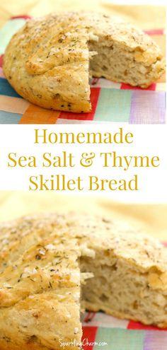 Sea Salt and Thyme Skillet Bread #SkilletBread #castIron #YeastBread