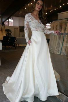 Deep V-Neck Appliques Pockets Long Sleeves Sweep Train A-Line Satin Wedding  Dress 2da020d742da