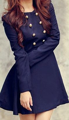 mini skirts | My style / Navy military style button dress. Could not love this more.