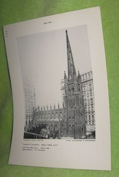 Trinity Church New York City Gothic Revival Black and White Print 1839-1846 #Vintage