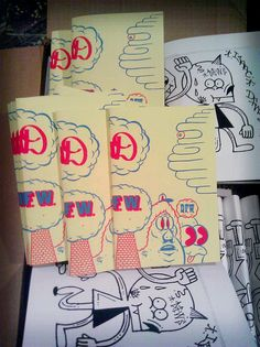 DFWORLD & ISAAC DFW MEGAWORDS ZINES by ICE SAC, via Flickr. The colours used to create this zine reflect greatly what the illustrations show. It looks like really wacky and the pink/red show this well, something cartoonish.
