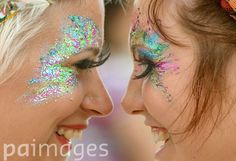 Beautiful eye make-up during the second day of the Glastonbury Festival at Pilton Farm, Somerset.