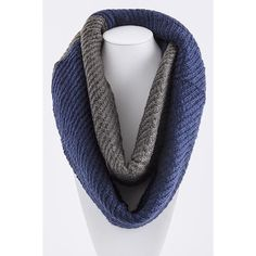 Two Tone Infinity Scarf ($20) ❤ liked on Polyvore featuring accessories, scarves, navy infinity scarf, infinity scarves, grey infinity scarf, grey scarves and infinity scarf