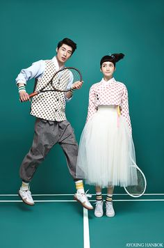 한복 Hanbok : Korean traditional clothes[dress] #modernhanbok Audrey Hepburn, tennis match, AYOUNGHANBOK, Korean costume, 아영한복, 생활한복
