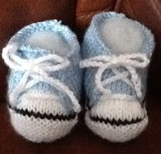 Handmade knitted Blue trainer/ sneaker by Happilyevercrafts, £4.50