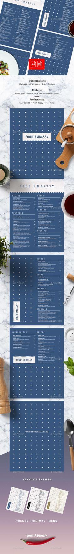 Menu Template Bundle - Food Menus Print Templates Food - bar menu template