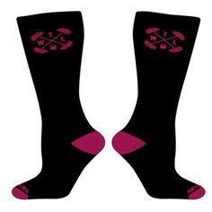 TWL High Performance - Crew Socks - Black & Pink - $13.95