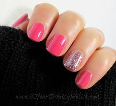 Pink with Purple Glitter Nail Art Design