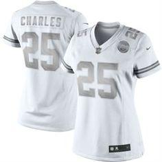 Nike Jamaal Charles Kansas City Chiefs Women's White Platinum Jersey