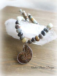 Amazonite stone, Ammonite shell pendant, silver metal necklace. Natural stone jewelry.