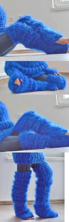Leg Warmers 163587: Dukyana Hand Knitted Huge Mohair Sweater Legwarmers One Size Blue New Thick -> BUY IT NOW ONLY: $119 on eBay!