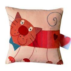 pan KoTeK Diy Pillow Covers, Throw Pillow Cases, Throw Pillows, Applique Cushions, Sewing Pillows, Kids Pillows, Animal Pillows, Cat Quilt, Cat Pillow