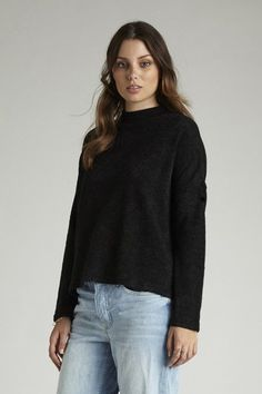 Hayley Mixed Knit - Black – I.D.S