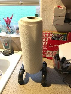 Iron Pipe paper towel holder.