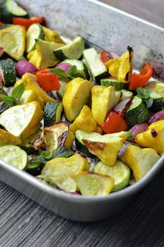 Summer veggies roasted on the grill and drizzled with a smokey lemon tahini dressing #summersoiree #glutenfree #vegan