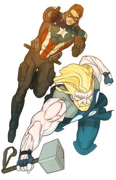 Winter Soldier Captain America and Thor, the God of Thunder by Kris Anka