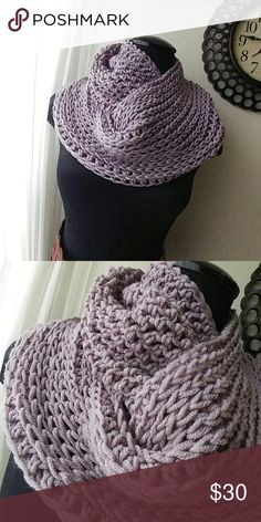 Ultra-luxe handmade infinity scarf Brand new straight from the hook. This yarn is luxurious. Wool acrylic blend. No itch, soft sheen, bouncy stitches., Lovely drape. Dusty Lavendar color. Simply stunning. Surprise someone with a handmade gift. Don't miss out. Handmade Accessories Scarves & Wraps