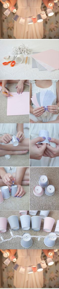 Diy dixie cup garland diy and crafts. Crafts For Teens, Diy And Crafts, Arts And Crafts, Paper Crafts, Do It Yourself Projects, Projects To Try, Diy Girlande, Art Diy, Craft Wedding