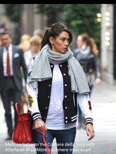 Melissa satta on The corriere della sera with stefanel feel more  cashmere maxi scarf