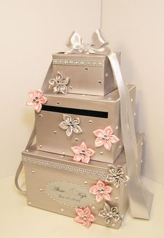 Please read my shop announcement !!!! bwithu.etsy.com  This listing is included: 3 tier card box (any color) Ribbon a and bow ( any color ) 9 small flowers(any color) w/rhi... #wedding #decoration #birthday
