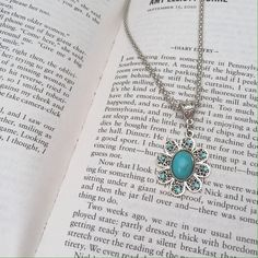 Cute Flower Tibet Silver Turquoise Necklace Brand new.  Green 7/15 Boutique Jewelry Necklaces