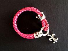 pink bracelet from nikidesaintgall. Leather Jewelry, Pink, Bohemian, Pendants, Jewellery, Chic, Bracelets, Lilies, Braid