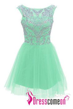 be46dbb81c Short Mint Prom Dresses 2016 New Style A Line Silver Beads Spakle Tulle  Homecoming Dress For Teens