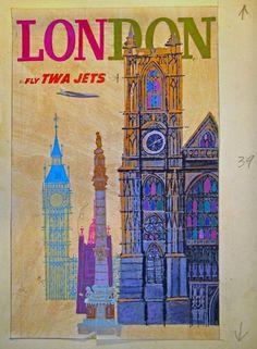 TWA Poster - always, always London Illustrations Vintage, Illustration Art, Vintage Travel Posters, Vintage Ads, Poster Vintage, Jet Set, Voyage Usa, Vintage Magazine, Original Travel