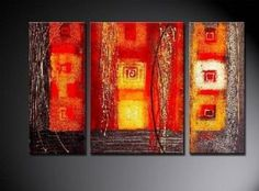 Amazon.com: 100% Art Hand Painted Modern Abstract Oil Painting on Canvas Wall Art Deco Home Decoration 3 Pic/set Stretched Ready to Hang: Home & Kitchen