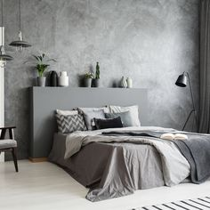 Bright Bedroom Interior In Grey Color With A Big Bed An Armchair in size 1300 X 866 Bedroom Lamps Big - Bedrooms require flexible light which is both Big Bedrooms, Neutral Bedrooms, Gray Bedroom, Bedroom Lamps, Modern Bedroom, Master Bedroom, Bedroom Decor, Bedroom Ideas, Nature Bedroom