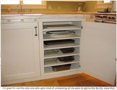 you could do this to any cupboard just by adding in more shelves!