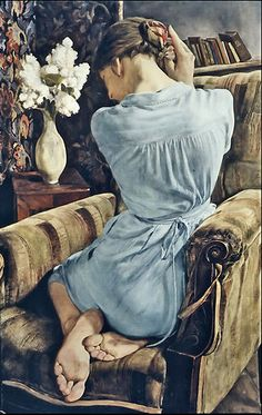 "Michael Taylor (1952, Worthing, Sussex). ""Girl with lilac"". Oil painting"