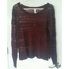 Maroon knit sweater Brandy new no flaws Fits small as well Aeropostale Sweaters Crew & Scoop Necks