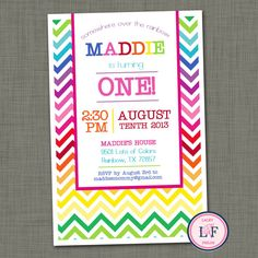 Rainbow birthday invitation printable- first birthday invitation- chevron rainbow invitation- somewhere over the rainbow by laceyfields on Etsy Kids Birthday Themes, Art Birthday, First Birthday Parties, First Birthdays, Happy Birthday, Rainbow Birthday Invitations, Printable Birthday Invitations, Rainbow Unicorn Party, Rainbow Birthday Party
