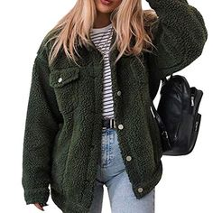 KXP Womens Warm Faux Fur Hoodie Fashion Solid Thick Pea Coat Outerwear Army Green M